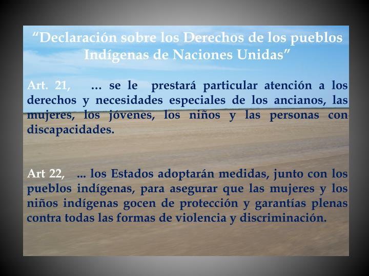 """""""Declaración sobre los Derechos de los pueblos Indígenas de Naciones Unidas"""""""