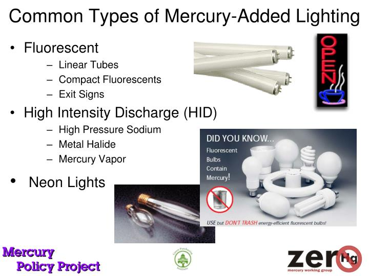 Common types of mercury added lighting