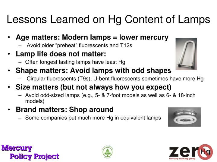 Lessons Learned on Hg Content of Lamps