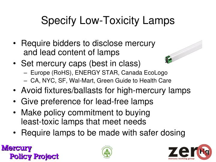 Specify Low-Toxicity Lamps