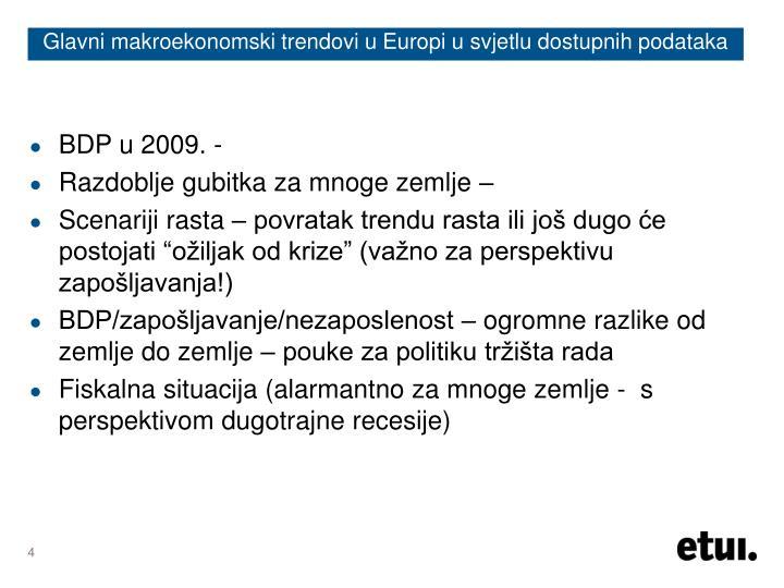 Glavni makroekonomski trendovi u Europi u svjetlu dostupnih podataka