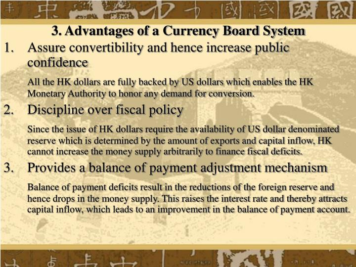 3. Advantages of a Currency Board System