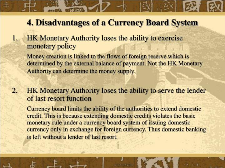 4. Disadvantages of a Currency Board System