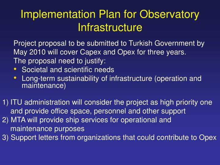 Implementation Plan for Observatory Infrastructure