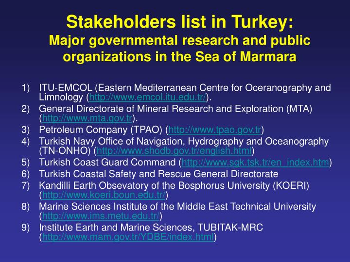Stakeholders list in Turkey: