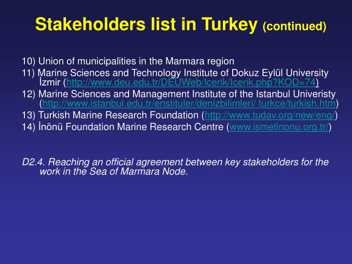 Stakeholders list in Turkey