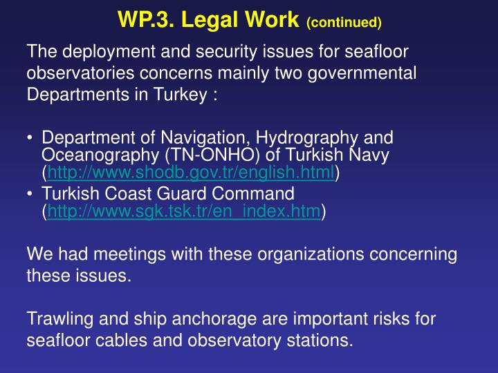 WP.3. Legal Work