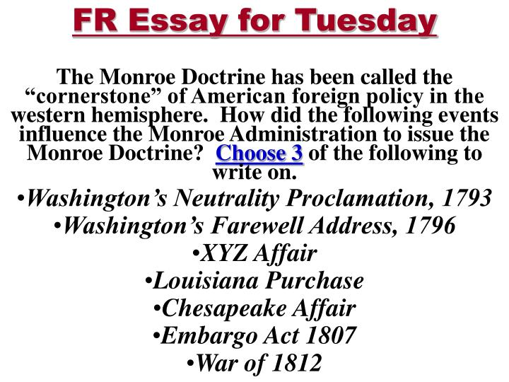the impact of the monroe doctrine on the course of american history written by james monroe