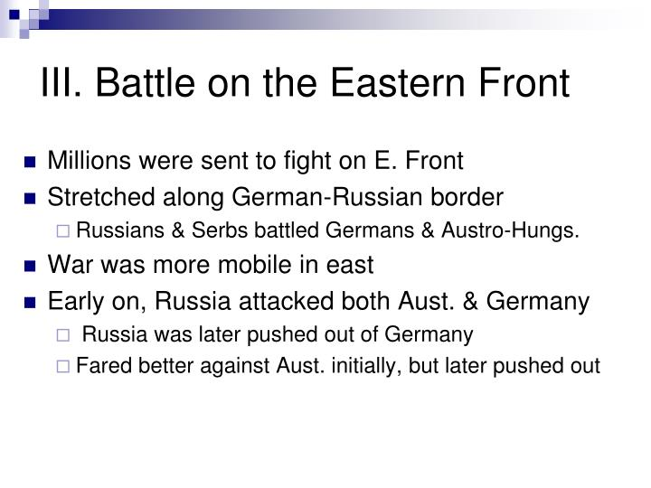 III. Battle on the Eastern Front