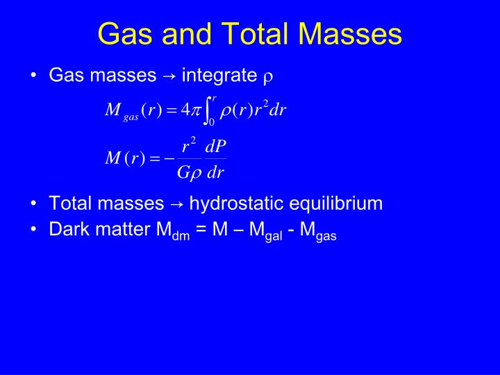 Gas and Total Masses