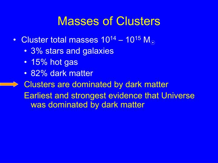 Masses of Clusters