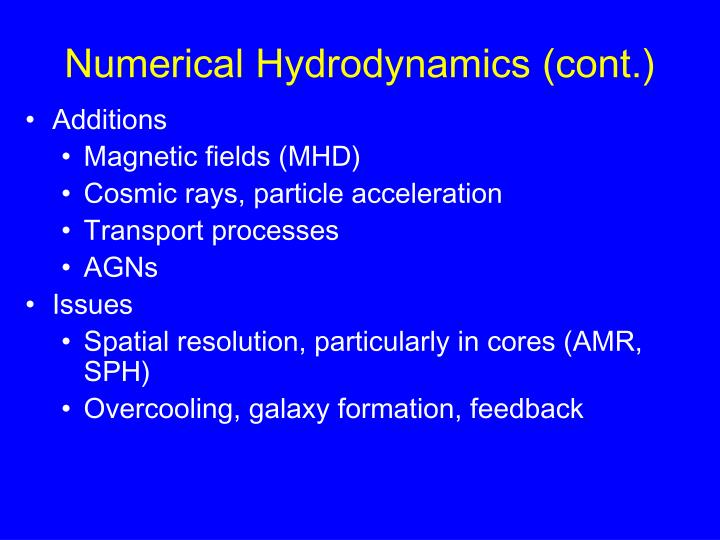 Numerical Hydrodynamics (cont.)