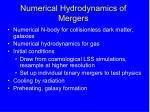numerical hydrodynamics of mergers