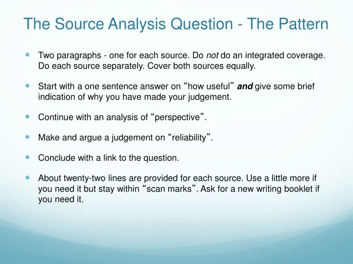 The Source Analysis Question - The Pattern