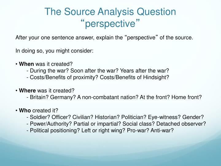 The Source Analysis Question