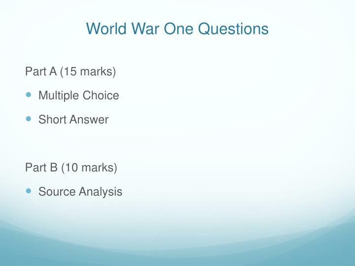 World War One Questions