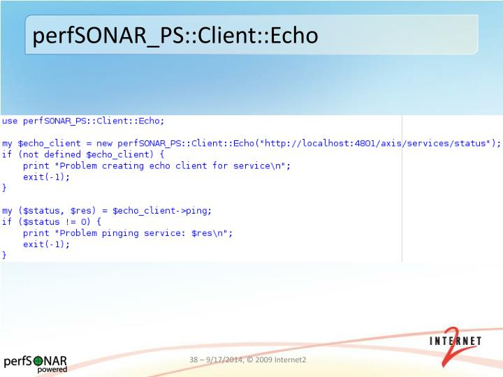perfSONAR_PS::Client::Echo