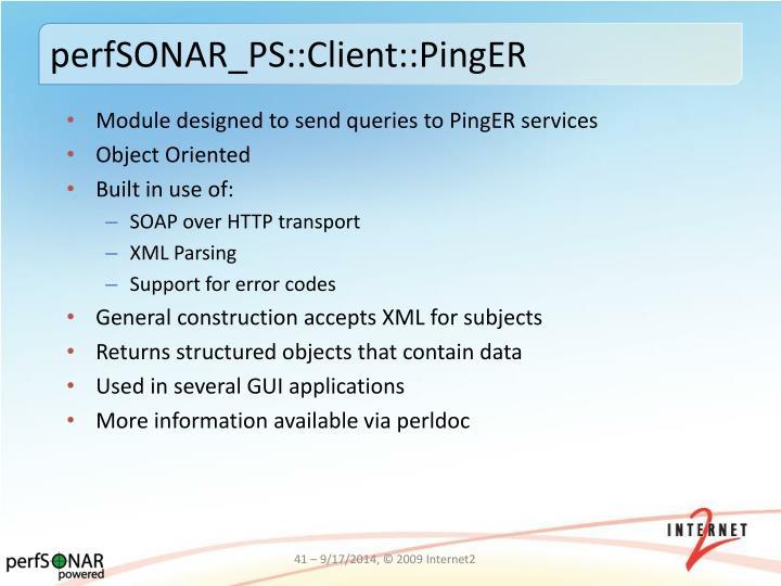 perfSONAR_PS::Client::PingER