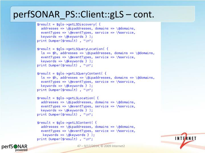 perfSONAR_PS::Client::gLS – cont.