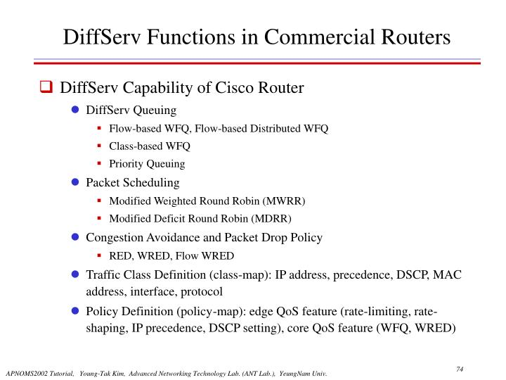 DiffServ Functions in Commercial Routers