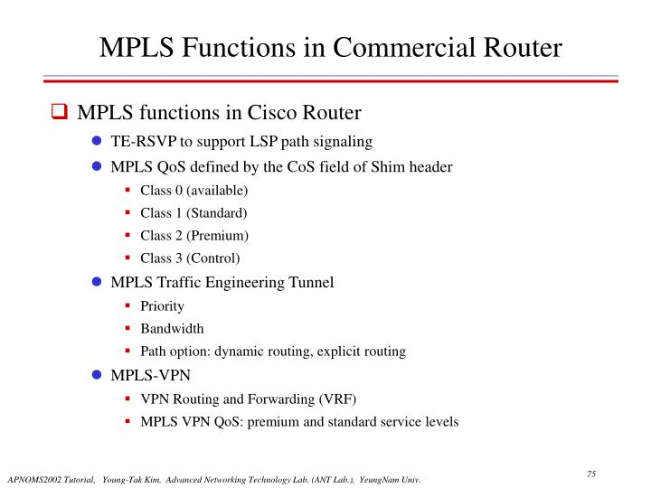 MPLS Functions in Commercial Router