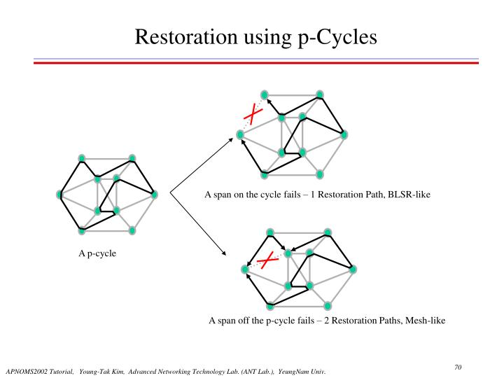 A span on the cycle fails – 1 Restoration Path, BLSR-like