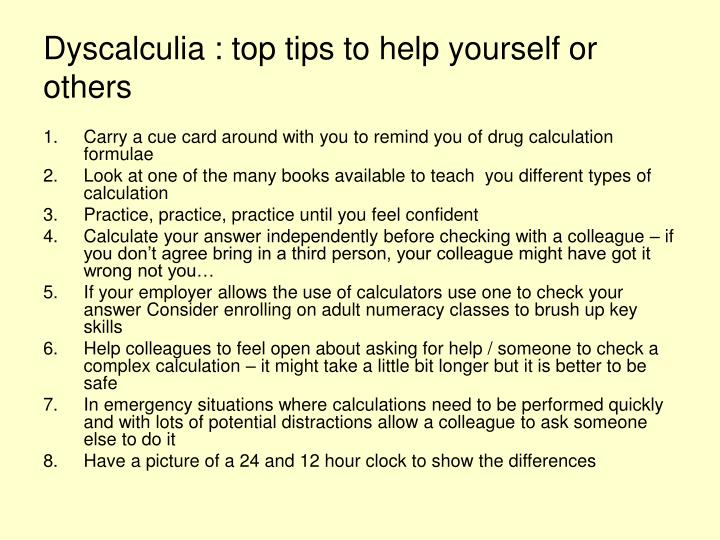 Dyscalculia : top tips to help yourself or others