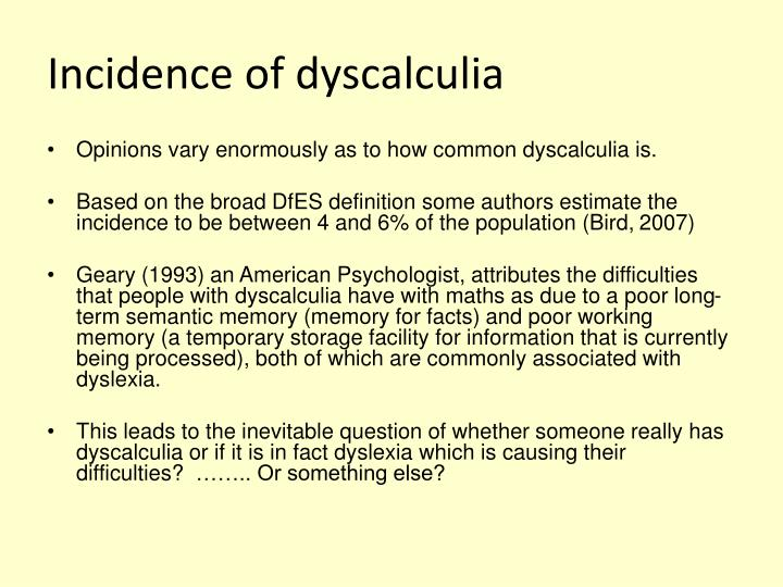 Incidence of dyscalculia