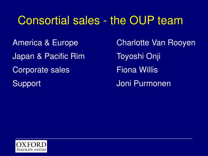 Consortial sales - the OUP team