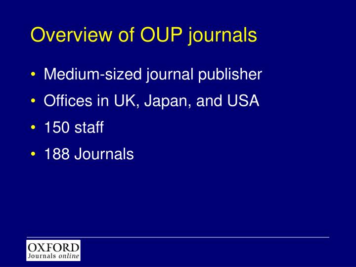 Overview of OUP journals