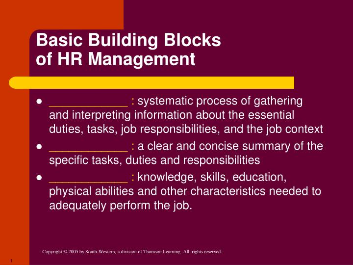 Basic building blocks of hr management