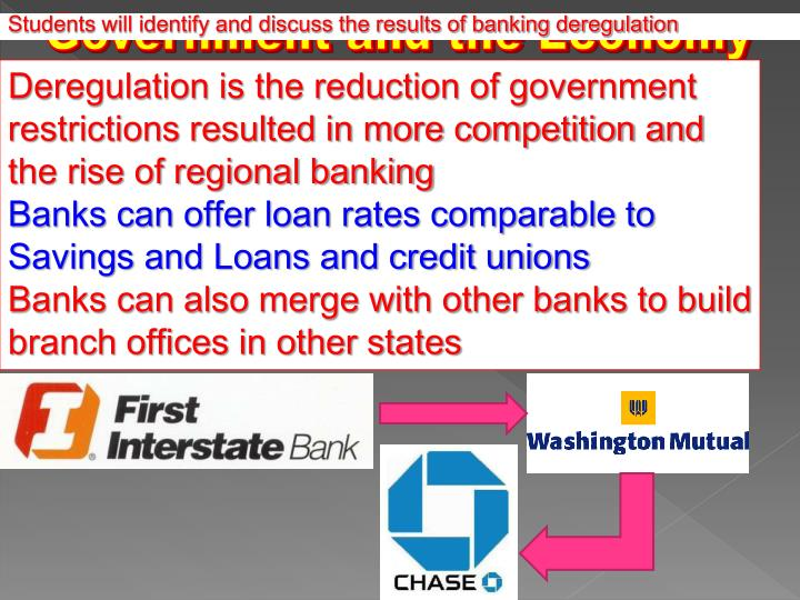 Students will identify and discuss the results of banking deregulation