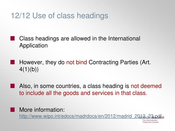 12/12 Use of class headings