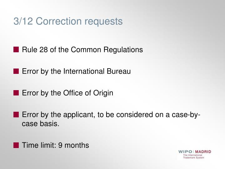 3/12 Correction requests