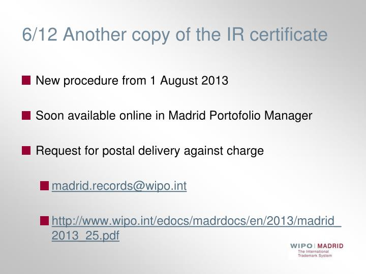 6/12 Another copy of the IR certificate