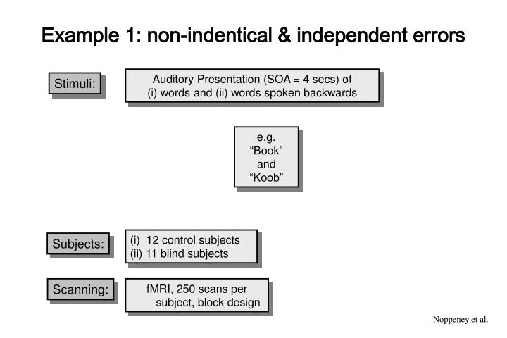 Example 1: non-indentical & independent errors