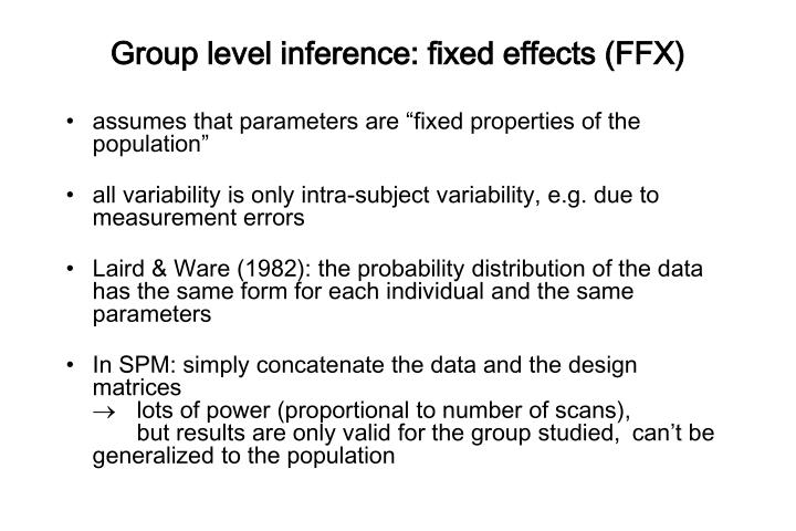 Group level inference: fixed effects (FFX)