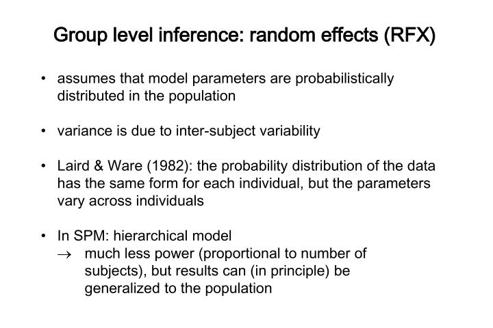 Group level inference: random effects (RFX)