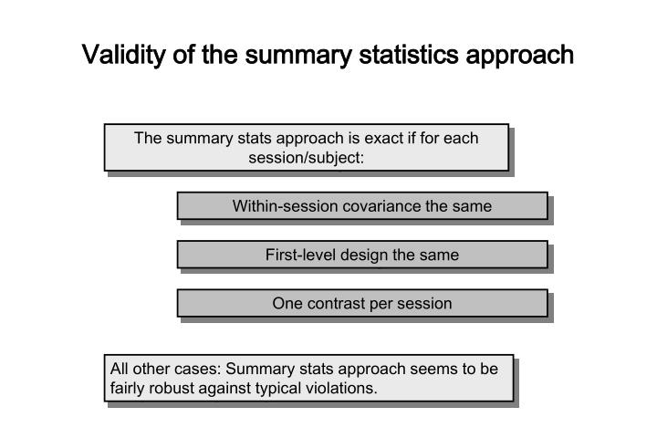 Validity of the summary statistics approach
