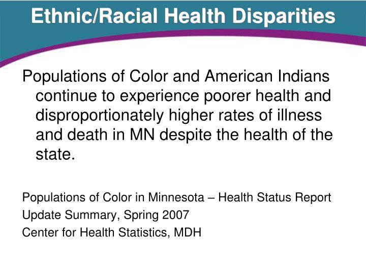 Ethnic/Racial Health Disparities