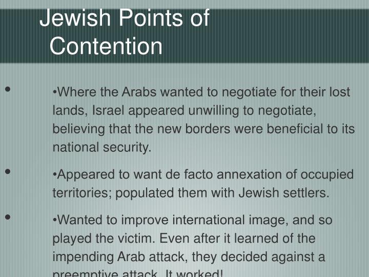 Jewish Points of Contention