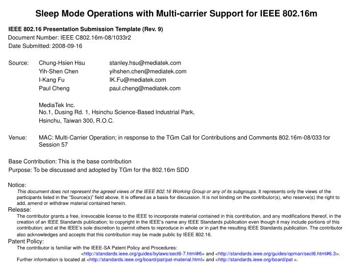Sleep mode operations with multi carrier support for ieee 802 16m