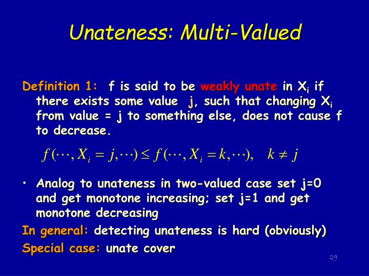 Unateness: Multi-Valued