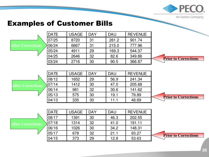 Examples of Customer Bills