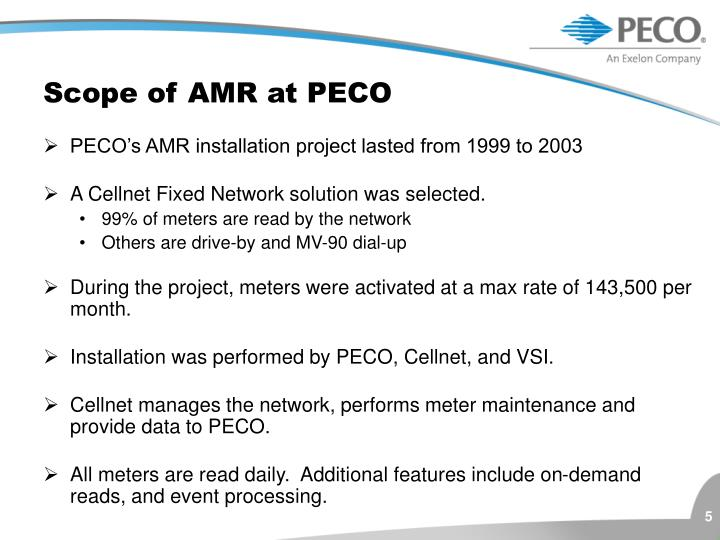 Scope of AMR at PECO