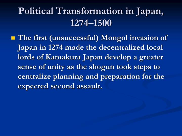 Political Transformation in Japan, 1274–1500