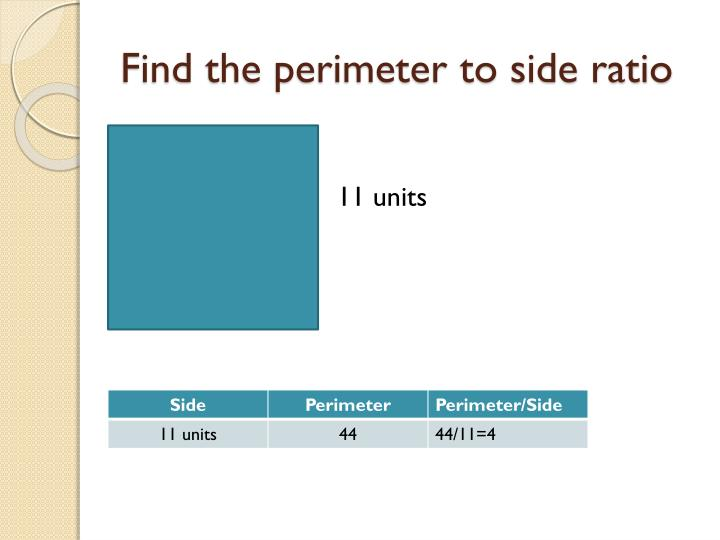 Find the perimeter to side ratio