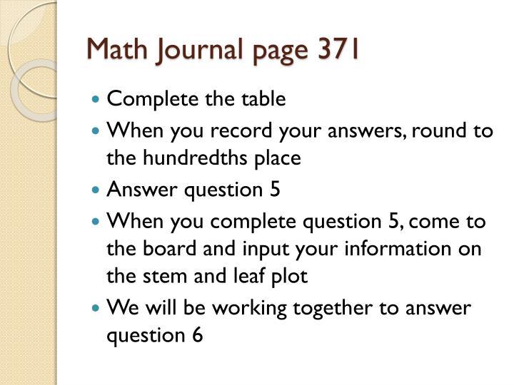 Math Journal page 371