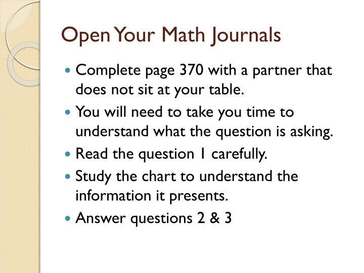 Open Your Math Journals