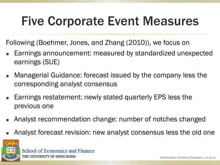 Five Corporate Event Measures